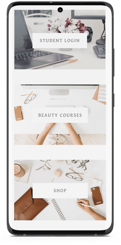 Aspire Beauty Academy - Smart Phone Web Design Mockup 2