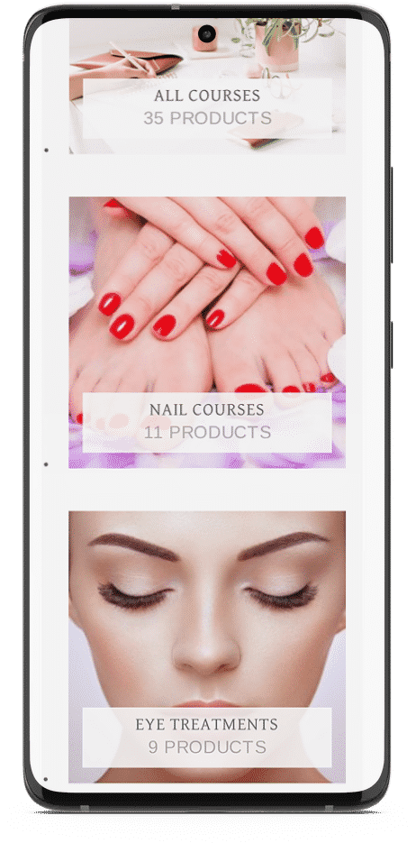 Aspire Beauty Academy - Smart Phone Web Design Mockup 3