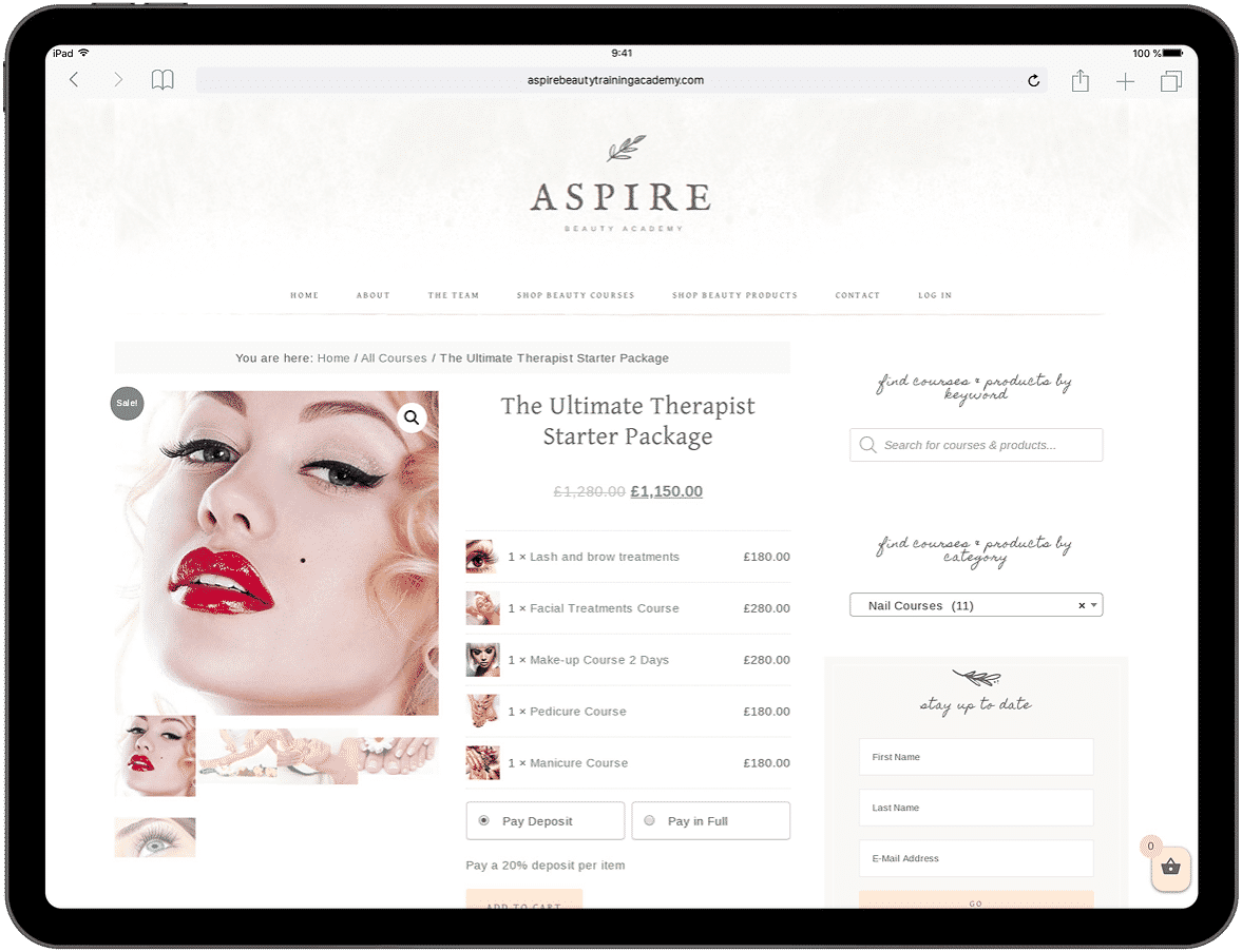 Aspire Beauty Academy - Tablet Web Design Mockup 3